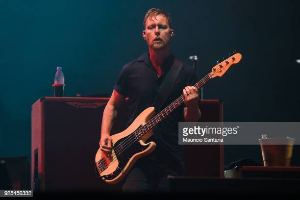 Nate Mendel basist member of the band Foo Fighters performs live on stage at Allianz Parque on February 27 2018 in Sao Paulo Brazil