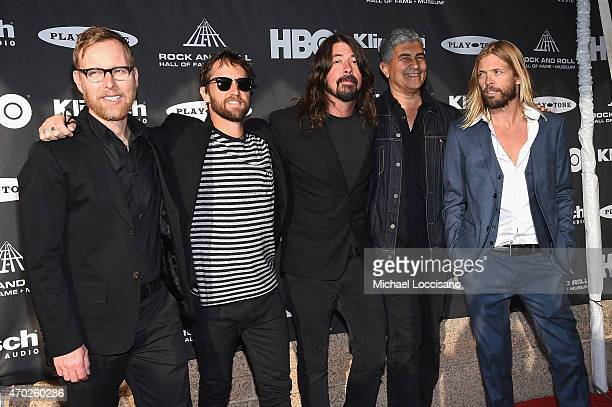 Nate Mendel Chris Shiflett Dave Grohl Pat Smear and Taylor Hawkins of Foo Fighters attend the 30th Annual Rock And Roll Hall Of Fame Induction...