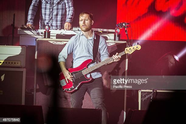 Nate Mendel of the american rock band Foo Fighters pictured on stage as he performs live at Unipol Arena Bologna Foo Fighters is an American rock...