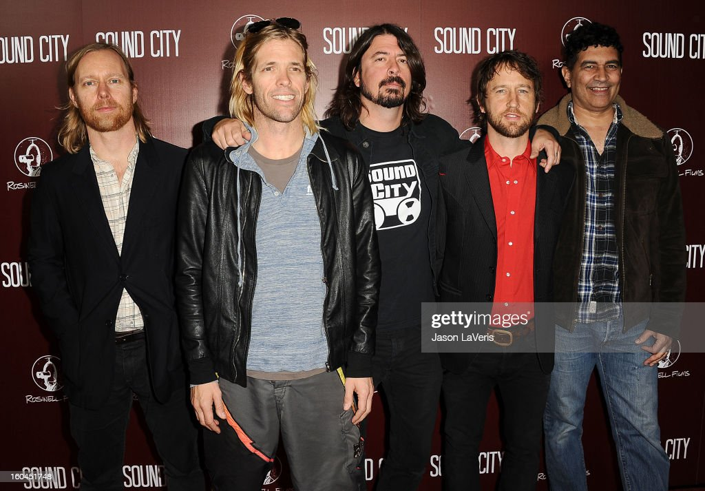 Nate Mendel, Taylor Hawkins, Dave Grohl, Chris Shiflett and Pat Smear of the Foo Fighters attend the premiere of 'Sound City' at ArcLight Cinemas Cinerama Dome on January 31, 2013 in Hollywood, California.