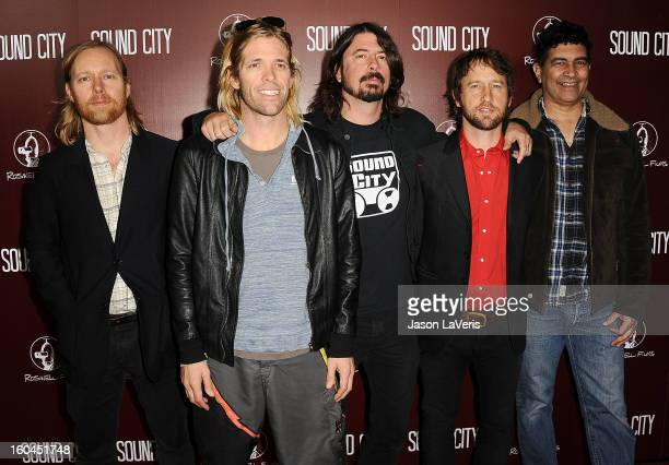Nate Mendel Taylor Hawkins Dave Grohl Chris Shiflett and Pat Smear of the Foo Fighters attend the premiere of 'Sound City' at ArcLight Cinemas...