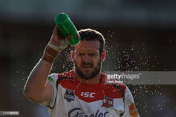 Nate Myles of the Roosters cools down during the round 10 NRL match between the Cronulla Sharks and the Sydney Roosters at Toyota Stadium on May 15...