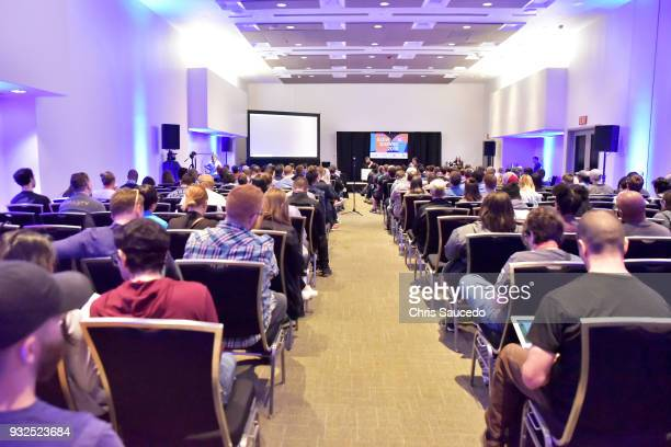 Nate Nanzer and Chris Pursell speak onstage at Overwatch League From Idea to Reality in a Year at Austin Convention Center on March 15 2018 in Austin...