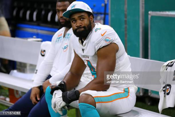 Nate Orchard of the Miami Dolphins during an NFL preseason game at the Mercedes Benz Superdome on August 29, 2019 in New Orleans, Louisiana.