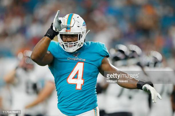 Nate Orchard of the Miami Dolphins in action against the Jacksonville Jaguars during the preseason game at Hard Rock Stadium on August 22, 2019 in...