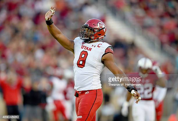 Nate Orchard of the Utah Utes celebrates after sacking quarterback Kevin Hogan of the Stanford Cardinal in the second quarter at Stanford Stadium on...