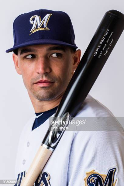 Nate Orf of the Milwaukee Brewers poses for a portrait during Photo Day at the Milwaukee Brewers Spring Training Complex on February 22 2018 in...