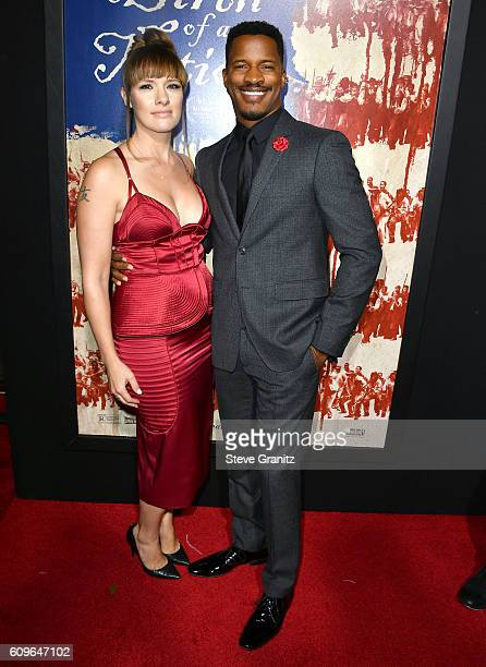 Nate Parker and Sarah DiSanto arrives at the Premiere Of Fox Searchlight Pictures' The Birth Of A Nation at ArcLight Cinemas Cinerama Dome on...
