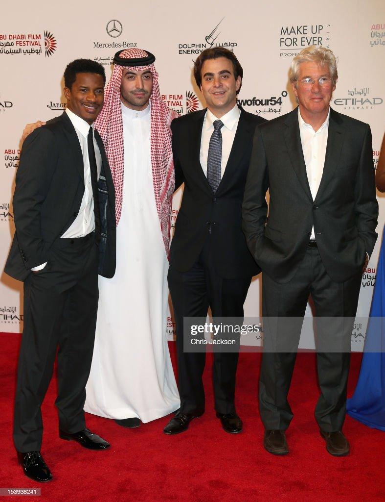 Nate Parker, Mohammed Al Turki Nicholas Jarecki and Richard Gere on the stage at Abu Dhabi Film Festival 2012 at Emirates Palace on October 11, 2012 in Abu Dhabi, United Arab Emirates.