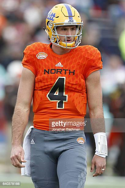 Nate Peterman of the North team reacts during the Reese's Senior Bowl at the LaddPeebles Stadium on January 28 2017 in Mobile Alabama
