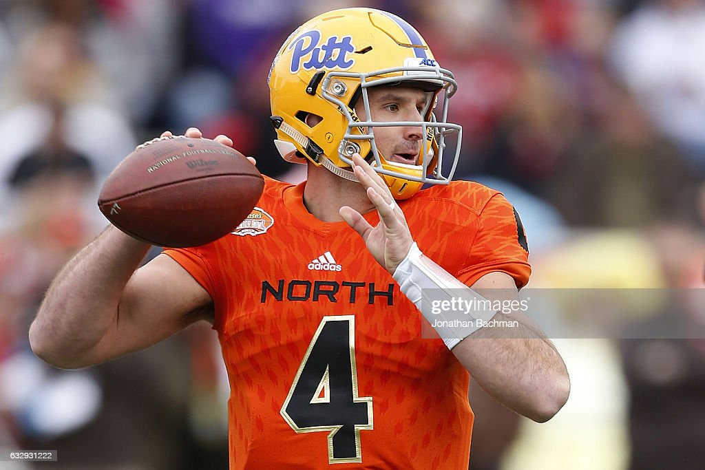 Nate Peterman #4 of the North team throws the ball during the first half of the Reese's Senior Bowl against the South team at the Ladd-Peebles Stadium on January 28, 2017 in Mobile, Alabama.