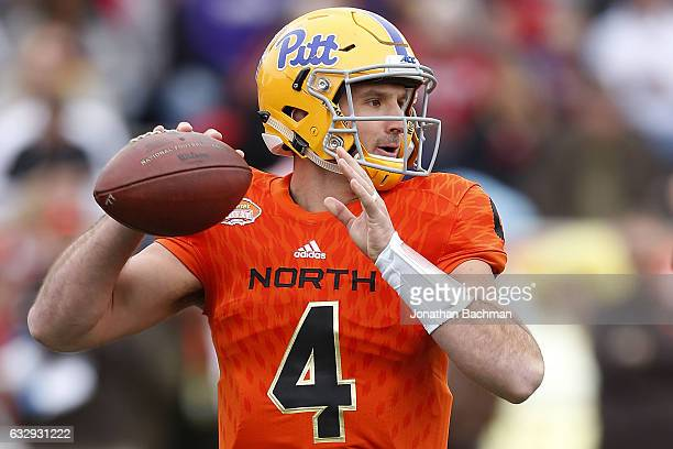 Nate Peterman of the North team throws the ball during the first half of the Reese's Senior Bowl against the South team at the LaddPeebles Stadium on...