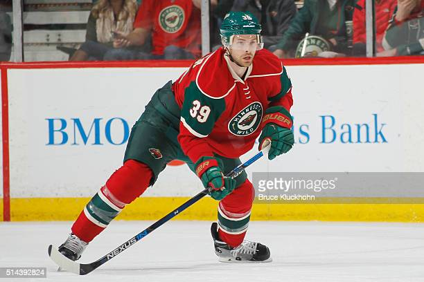 Nate Prosser of the Minnesota Wild defends against the Florida Panthers during the game on February 28 2016 at the Xcel Energy Center in St Paul...