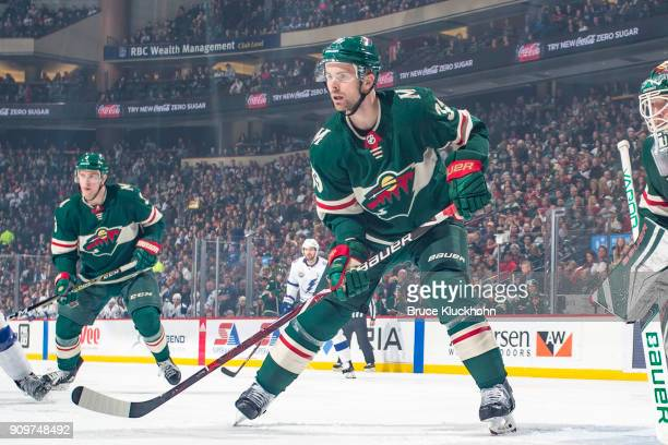 Nate Prosser of the Minnesota Wild defends against the Tampa Bay Lightning during the game at the Xcel Energy Center on January 20 2018 in St Paul...