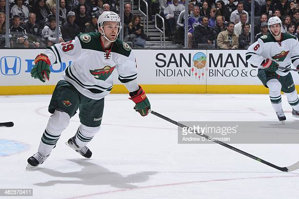 Nate Prosser of the Minnesota Wild during a game against the Los Angeles Kings at STAPLES Center on March 31 2014 in Los Angeles California