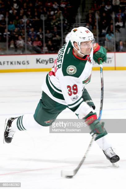Nate Prosser of the Minnesota Wild fires a shot on goal against the Colorado Avalanche at the Pepsi Center on April 6 2017 in Denver Colorado