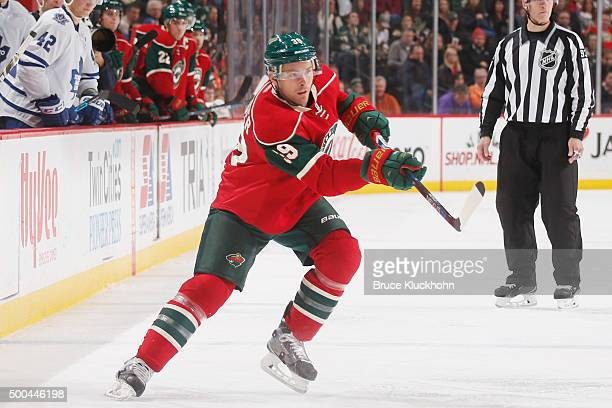 Nate Prosser of the Minnesota Wild passes the puck against the Toronto Maple Leafs during the game on December 3 2015 at the Xcel Energy Center in St...