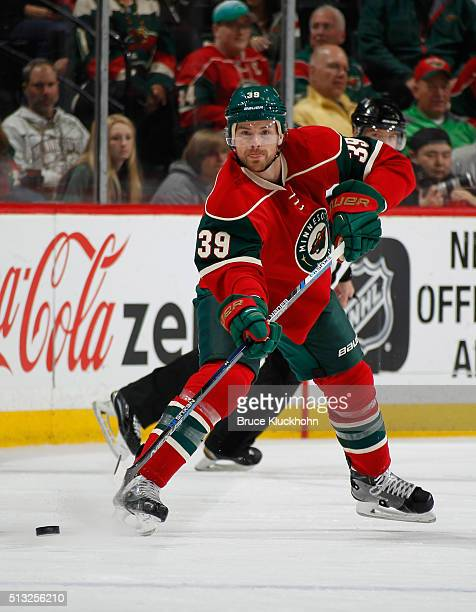 Nate Prosser of the Minnesota Wild passes the puck against the Colorado Avalanche during the third period during the game on March 1 2016 at the Xcel...