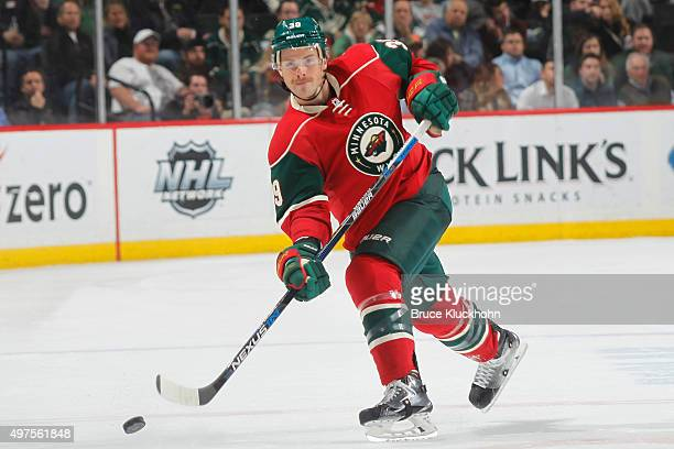 Nate Prosser of the Minnesota Wild shoots the puck against the Winnipeg Jets during the game on November 10 2015 at the Xcel Energy Center in St Paul...