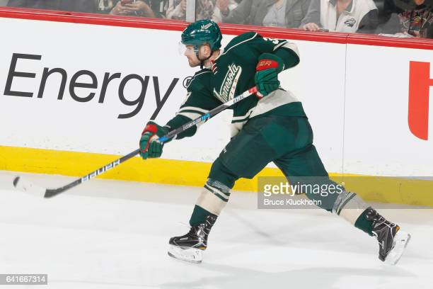 Nate Prosser of the Minnesota Wild shoots the puck against the Chicago Blackhawks during the game on February 8 2017 at the Xcel Energy Center in St...