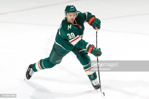 Nate Prosser of the Minnesota Wild shoots the puck against the Chicago Blackhawks during the game at the Xcel Energy Center on February 10 2018 in St...