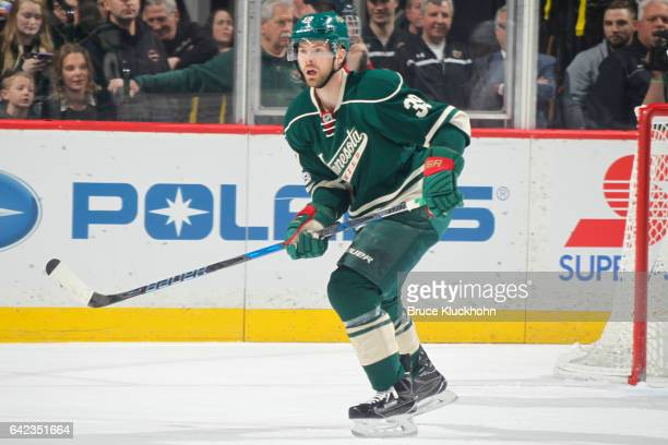 Nate Prosser of the Minnesota Wild skates against the Detroit Red Wings during the game on February 12 2017 at the Xcel Energy Center in St Paul...