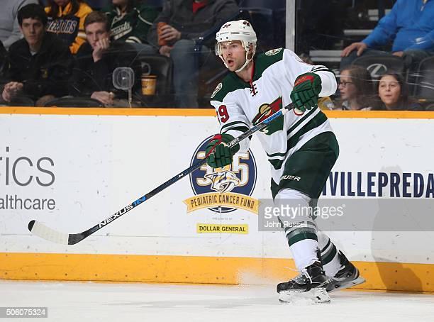 Nate Prosser of the Minnesota Wild skates against the Nashville Predators during an NHL game at Bridgestone Arena on January 16 2016 in Nashville...