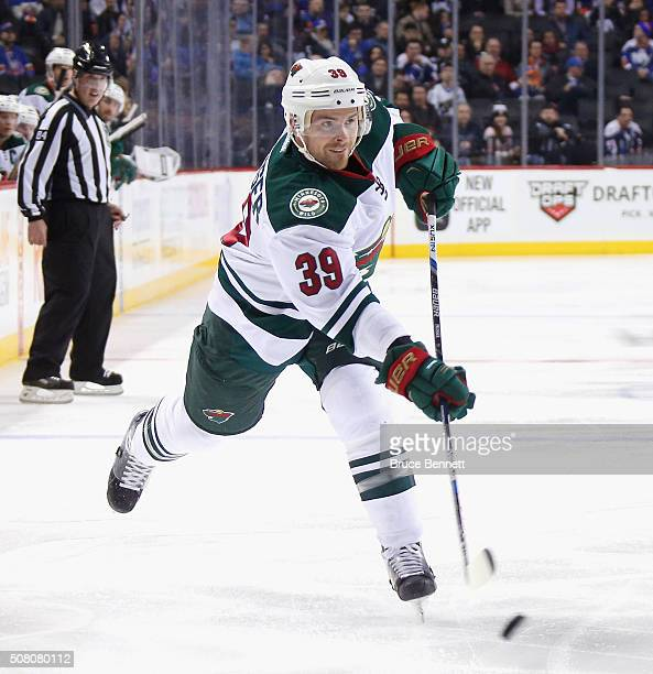Nate Prosser of the Minnesota Wild skates against the New York Islanders at the Barclays Center on February 2 2016 in the Brooklyn borough of New...