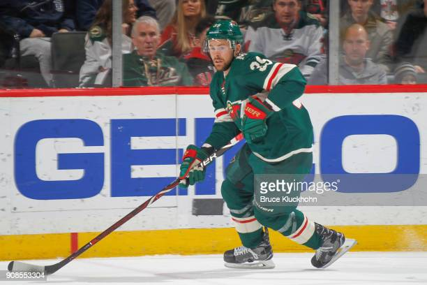 Nate Prosser of the Minnesota Wild skates with the puck against the Winnipeg Jets during the game at the Xcel Energy Center on January 13 2018 in St...