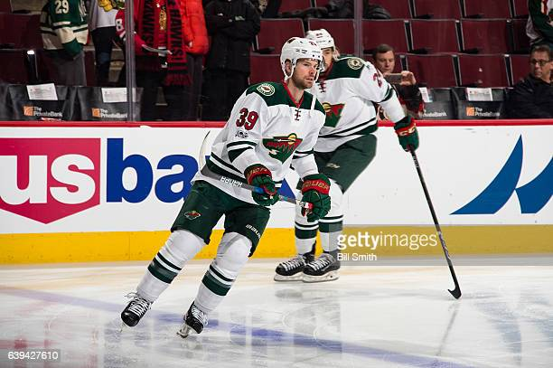 Nate Prosser of the Minnesota Wild warms up prior to the game against the Chicago Blackhawks at the United Center on January 15 2017 in Chicago...