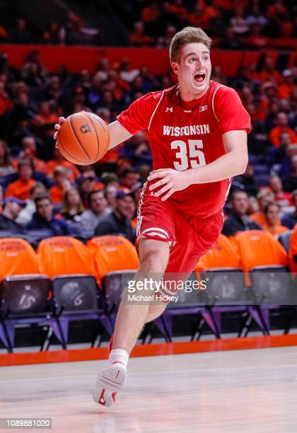 Nate Reuvers of the Wisconsin Badgers drives to the basket during the game against the Illinois Fighting Illini at State Farm Center on January 23...