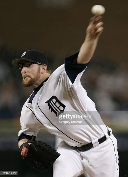 Nate Robertson of the Detroit Tigers pitches during the second inning against the Toronto Blue Jays on September 27 2006 at Comerica Park in Detroit...