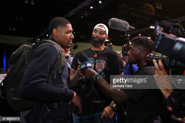 Nate Robinson and Carlos Boozer interview Bradley Beal of the Washington Wizards during NBA AllStar Media Day as part of 2018 NBA AllStar Weekend at...