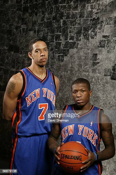 Nate Robinson and Channing Frye of the New York Knicks pose during the Sophomore/Rookie Portraits prior to TMobile Rookie Challenge on February 17...