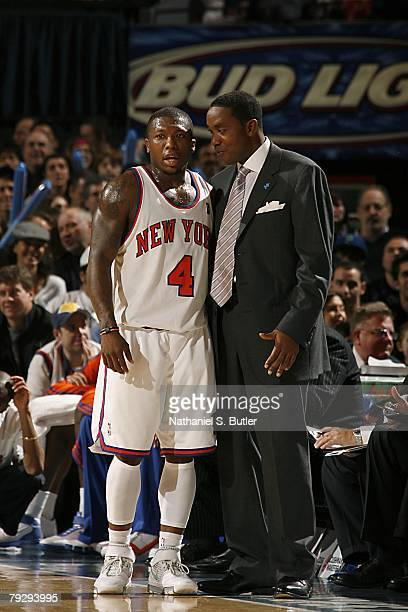 Nate Robinson and head coach Isiah Thomas of the New York Knicks talk during the NBA game against the Los Angeles Lakers on December 23 2007 at...