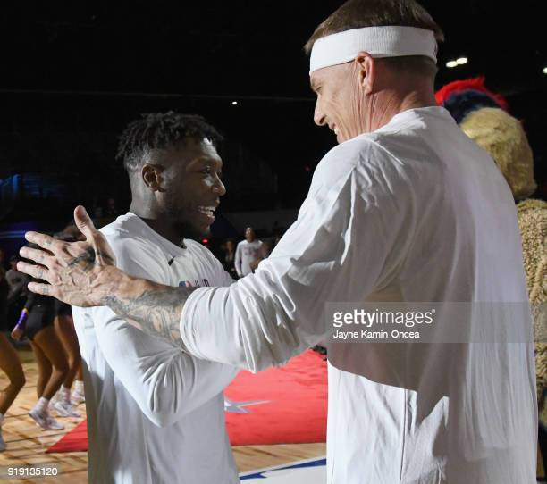 Nate Robinson and Jason Williams attend the 2018 NBA AllStar Game Celebrity Game at Los Angeles Convention Center on February 16 2018 in Los Angeles...