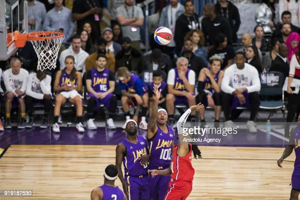 Nate Robinson Nick Cannon and Quavo go for the rebound during the 2018 NBA AllStar Celebrity Game as part of AllStar Weekend at the Los Angeles...