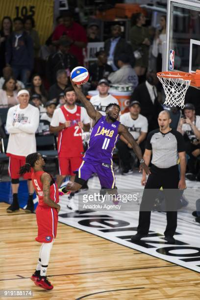 Nate Robinson of Team Lakers flies to the basket during the 2018 NBA AllStar Celebrity Game as part of AllStar Weekend at the Los Angeles Convention...