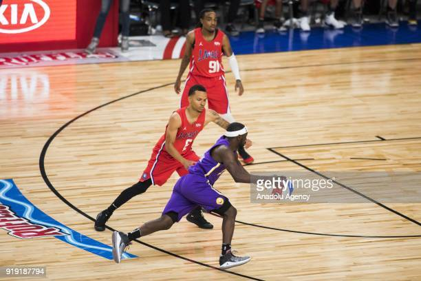 Nate Robinson of Team Lakers in action against Andre De Grasse of Team Clippers during the 2018 NBA AllStar Celebrity Game as part of AllStar Weekend...
