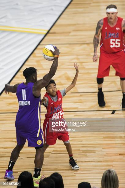 Nate Robinson of Team Lakers in action against Miles Brown of Team Clippers during the 2018 NBA AllStar Celebrity Game as part of AllStar Weekend at...