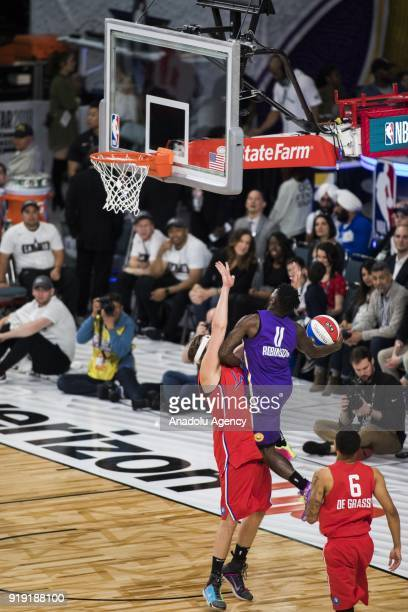 Nate Robinson of Team Lakers makes a lay up against Win Butler of Team Clippers during the 2018 NBA AllStar Celebrity Game as part of AllStar Weekend...