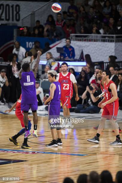 Nate Robinson of Team Lakers shoots a threepointer during the 2018 NBA AllStar Celebrity Game as part of AllStar Weekend at the Los Angeles...