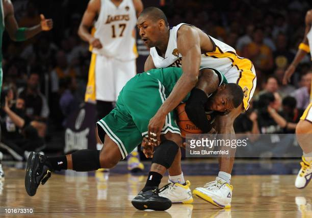 Nate Robinson of the Boston Celtics drives in the second half against Ron Artest of the Los Angeles Lakers in Game Two of the 2010 NBA Finals at...