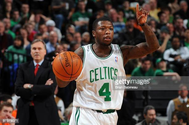 Nate Robinson of the Boston Celtics handles the ball against the New York Knicks during the game on February 23 2010 at TD Banknorth Garden in Boston...