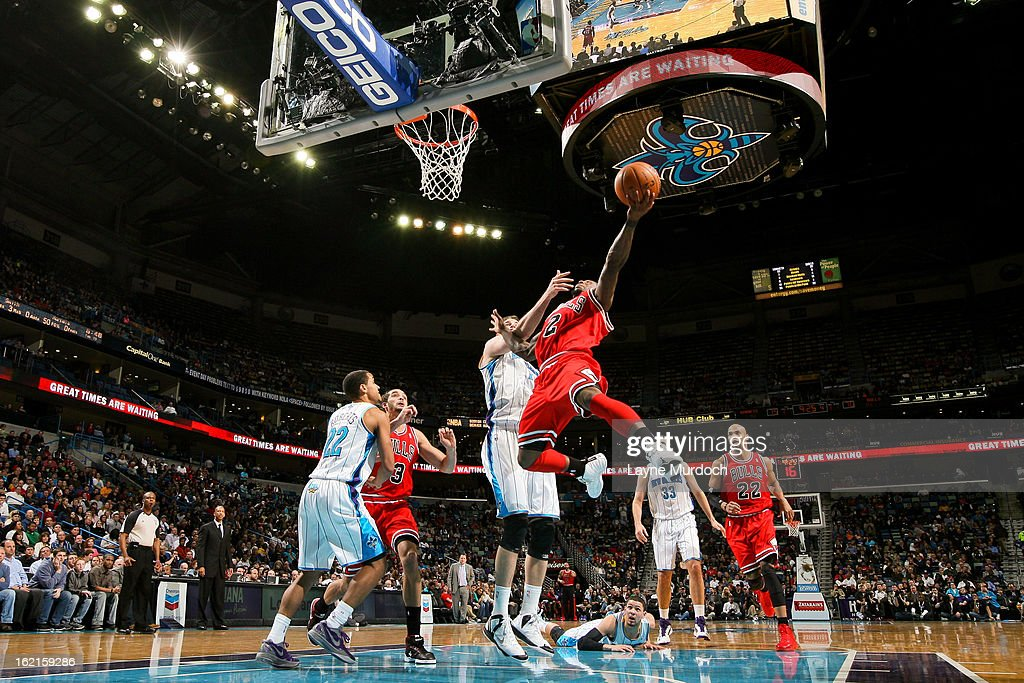 Nate Robinson #2 of the Chicago Bulls drives to the basket against Jason Smith #14 of the New Orleans Hornets on February 19, 2013 at the New Orleans Arena in New Orleans, Louisiana.