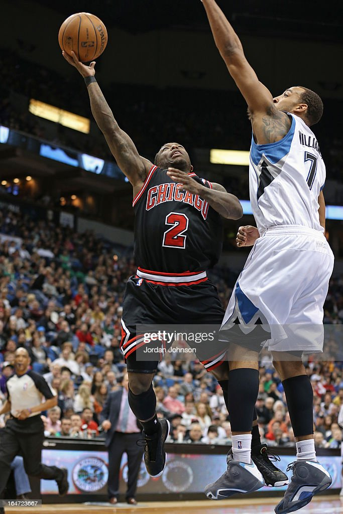 Nate Robinson #2 of the Chicago Bulls drives to the basket against the Minnesota Timberwolves on March 24, 2013 at Target Center in Minneapolis, Minnesota.