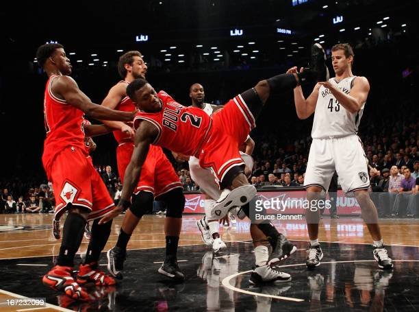 Nate Robinson of the Chicago Bulls is called for a foul in the fourth quarter against the Brooklyn Nets during Game Two of the Eastern Conference...