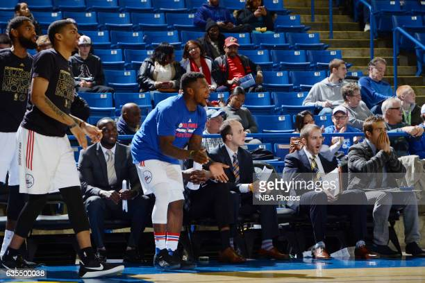 Nate Robinson of the Delaware 87ers cheers during the game against the Maine Red Claws on February 14 2017 at the Bob Carpenter Center in Newark...