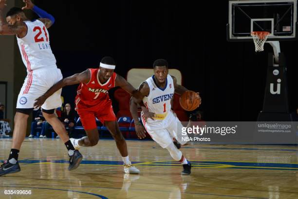 Nate Robinson of the Delaware 87ers handles the ball during the game against the Maine Red Claws on February 14 2017 at the Bob Carpenter Center in...