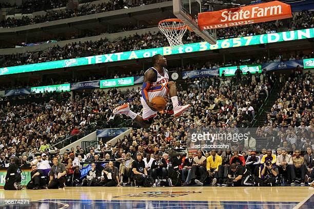 Nate Robinson of the New York Knicks attempts to dunk during the Sprite Slam Dunk Contest on AllStar Saturday Night part of 2010 NBA AllStar Weekend...